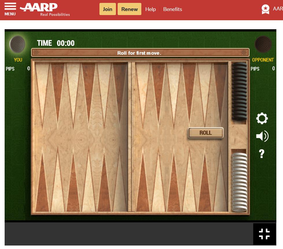 aarp backgammon screenshot