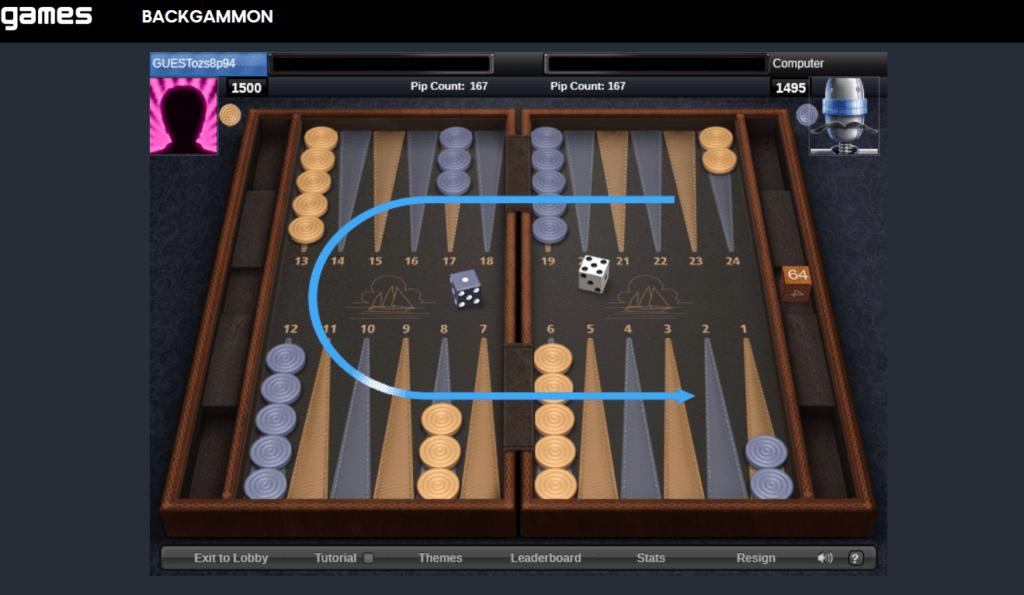 aol backgammon screenshot