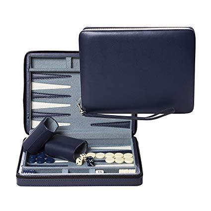 WE Games Blue Magnetic Backgammon Set