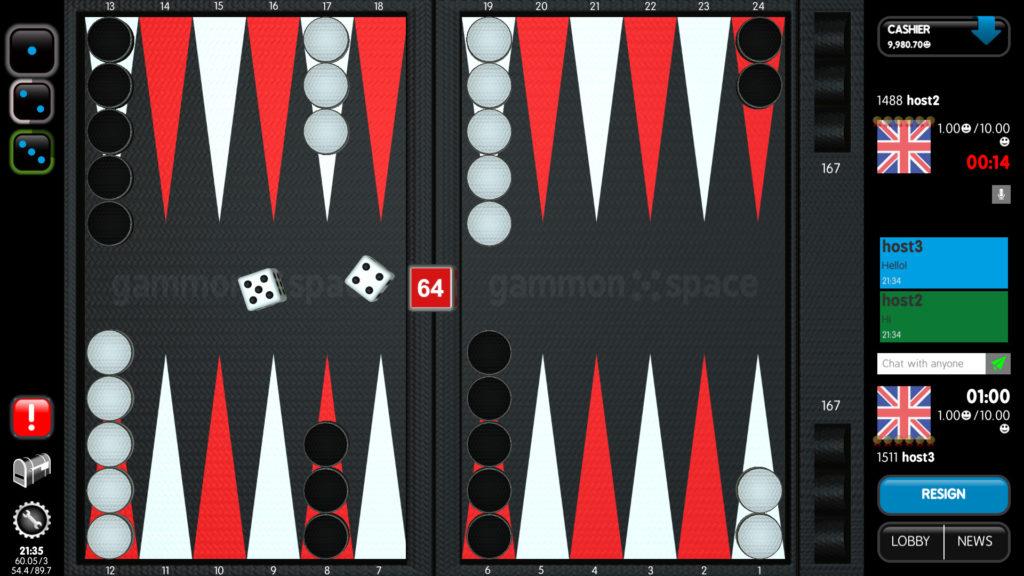 gammon space backgammon board
