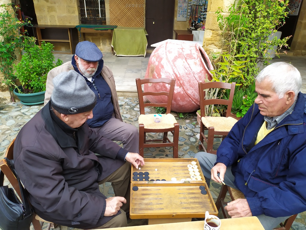 Backgammon in the street of Nicosia