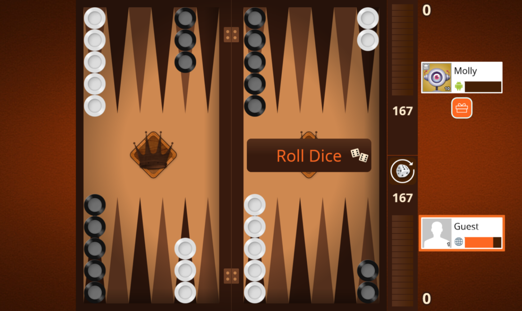 vip backgammon board screenshot