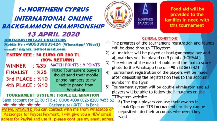 1st northern Cyprus online Backgammon Chamionship